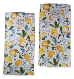 Set of 2 ZEST OF HAPPY Lemons Citron Terry Kitchen Towels by