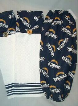 SET of 3 Bag Dispenser & Kitchen Towels Handmade NFL LOS ANG