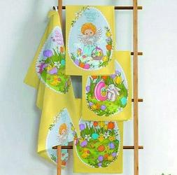 Set of 3 Cotton Kitchen Towels Set w/ Easter Print. Made in