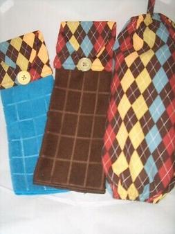 SET of 3 Plastic Bag Holder/Dispenser & Kitchen Towels Handm