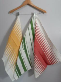 Set of 3 Striped Kitchen Towels by TAG 100% cotton Red Green