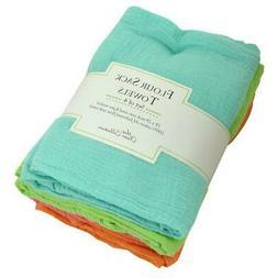 Set of 4 Bright Flour Sack Kitchen Dish Towels 28x29 from De