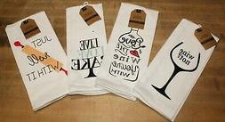 Set of 4 Funny Baking Wine Kitchen Towels - 100% Cotton Thic