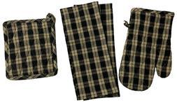 Set of 4, Gingham Check Kitchen Set, 2 Kitchen Towels, 1 Ove