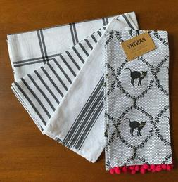 Pantry Set Of 4 Kitchen Towels Cotton Black White Cats Strip
