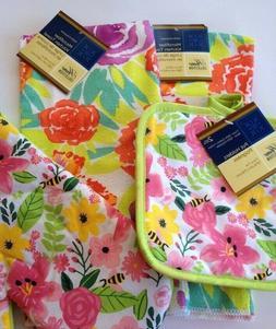 Set of 5 Floral Flowers Kitchen Towels Oven Mitt Pot Holders