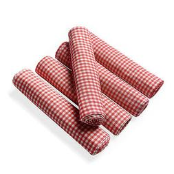 Set of 5 Red 100% Cotton Kitchen Towels