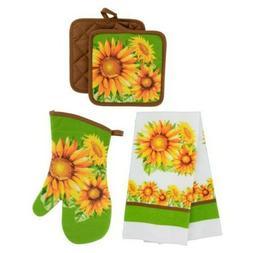 Set of 5 Summer Sunflower Kitchen Set 2 Hand Towels 2 Pot Ho