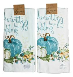 Set of GATHERED & GRATEFUL Pumpkin Terry Kitchen Towels by K