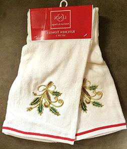 """LENOX® SET OF TWO 28"""" x 17.5"""" HOLIDAY NOUVEAU EMBROIDER"""