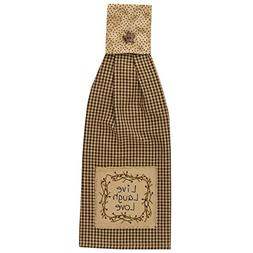 Shades of Brown Gingham Check Live Laugh Love Cotton Kitchen