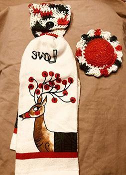 Free ship to USA - 3 piece set - Christmas Love Reindeer 1 C