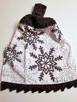 Snowflake Crochet Top Hanging Kitchen Towel with Decorative