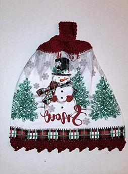 Snowman Crochet Top Hanging Kitchen Towel with Decorative Bo