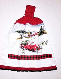 Snowy Antique Red Truck Hanging Kitchen Towel with Decorativ