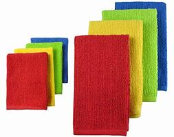 CC Home Furnishings Pack of 8 Solid Primary Colored Dish Tow