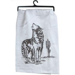 Southwest Coyote Print Oversized White Krinkle Flour Sack Ki