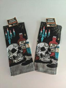 Spooky Skull Halloween Towels Set of 2 Kitchen Potions Creep