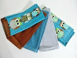 Stacking Owls Kitchen Towels 5Pc 100% Cotton Owl Bird Home B