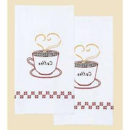"Stamped White Decorative Hand Towel 17""X28"" One Pair-Coffee"