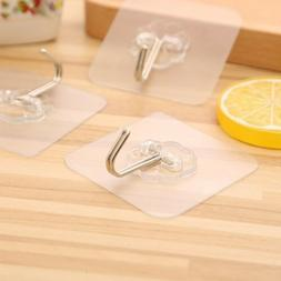 4 X Strong Adhesive Transparent Hooks Kitchen Wall Door Towe