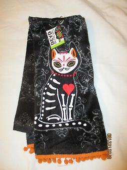 Sugar Skull CAT  Ritz Kitchen Towels  NWT Black Day of the D
