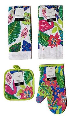 Mainstay Beach Flamingo Kitchen Set Potholder Oven Mitt Kitchen Towel