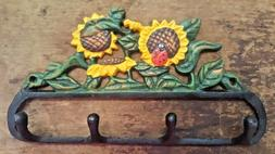 SUNFLOWER 4 HOOK BATHROOM or KITCHEN Towel Hanger farmhouse
