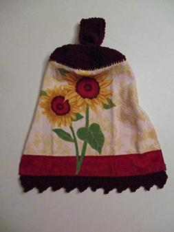 Sunflower Crochet Top Hanging Towel