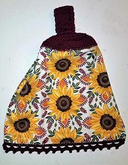 Sunflower Hanging Kitchen Towel with Decorative Bottom Edge,