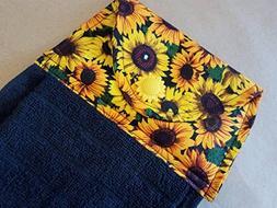 Sunflower Hanging Kitchen Towel, Button Top Dish Towel, Sunf