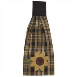 Sunflower in Bloom Hand Towel Black Gold Tan Plaid Farmhouse