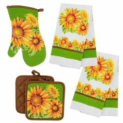 Sunflower Kitchen Towels Oven Mitt Hot Pads Country Kitchen