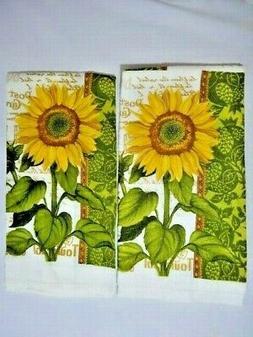 Sunflower Postcard Kitchen Towels 2-Pc Cotton Yellow Green W