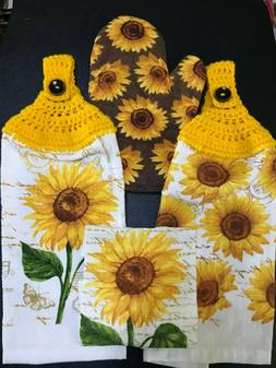 🌻SUNFLOWERS 4-PC Kitchen Set 2 Crochet Top Towels, 1 Dish