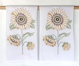 Sunflowers Embroidered Flour Sack Kitchen Towels by C & F -