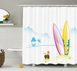 Ambesonne Surfboard Decor Collection, Surfing Board with Ten