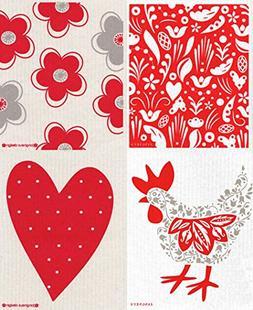 Swedish Dishcloth - Set of 4  RED & GREY Flowers, Hen, Heart