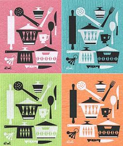Swedish Dishcloths, Retro Scandinavian Kitchen Utensil Desig