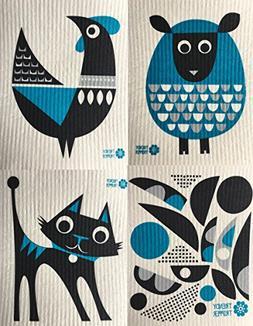 Swedish Dishcloths, Set of 4 Different MODERN Designs in DAR