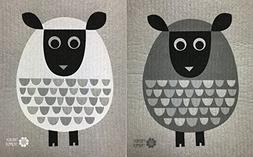 Swedish Dishcloths, Set of 2 Different Colored MODERN SHEEP
