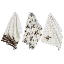 The Sweetheart Rose Dish Towels, Set of 3, 100 Percent Cotto