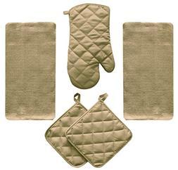 5 Piece Tan Beige Kitchen Linen Towel Set Solid Colors Heavy