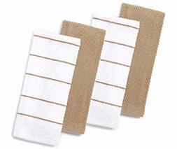 Master Cuisine Tan and White Kitchen Towel Set of 4 Dishtowe