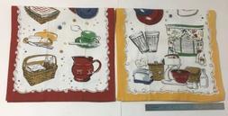 Longaberger Tea Kitchen Towels Vintage Retro Designs Set Of