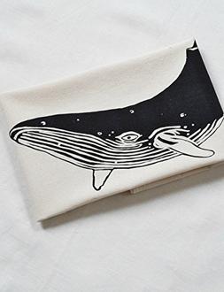 Tea Towel - Organic Cotton - Whale Design in Black - Natural