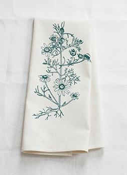 Tea Towel - Chamomile Botanical Print in Dark Green - Organi