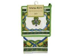 Tea Towel and Pot Holder Shamrock Design Irish Weave Cotton