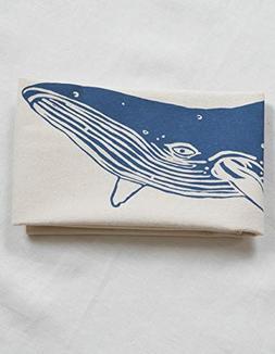 Tea Towel - Organic Cotton - Whale Design in Blue-violet - F