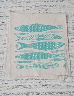 Tea Towel - Organic Cotton - Fish Design in Mint Green- Scre